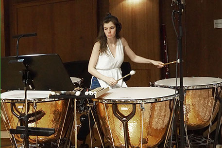Concentrating on the score: Timpani!
